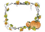 Floral frame with pumpkins