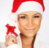 Pretty Santa girl closeup portrait