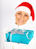 Happy Santa girl with gift