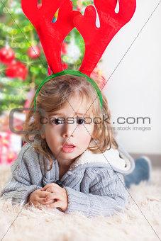 Little boy on Christmas celebration