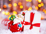Holiday background with cute Santa decoration