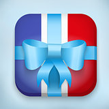 Gift Icon Flag of France with bow and strip.