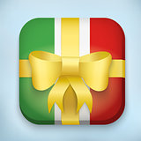 Gift Icon Flag of Italy with bow and strip.
