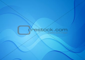 Bright blue abstract wavy design