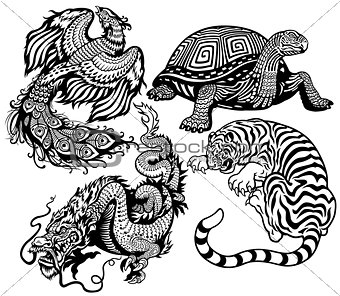 four feng shui animals black white