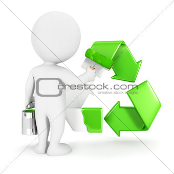 3d white people painting recycle sign