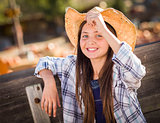Preteen Girl Portrait at the Pumpkin Patch
