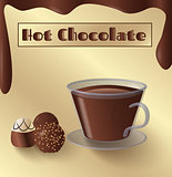 Cup of hot chocolate and candy