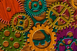 Wooden Gears on Wood Grain Texture Background