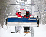 Skiers on a ski-lift
