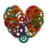 Wooden Gears Forming Heart Shape Illustration