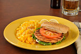 Salmon burger with mac and cheese