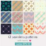 Set of 12 seamless patterns with hearts.