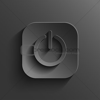 Power icon - vector black app button with shadow
