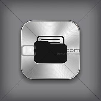 Folder icon - vector metal app button