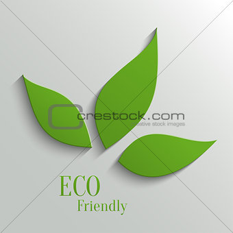 Green eco friendly background - abstract paper leaves