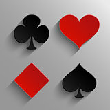Set of casino elements - playing card symbols icons