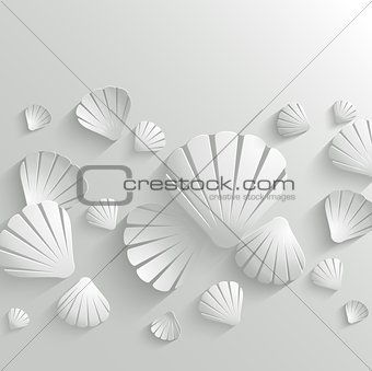 Abstract vector background with white seashells
