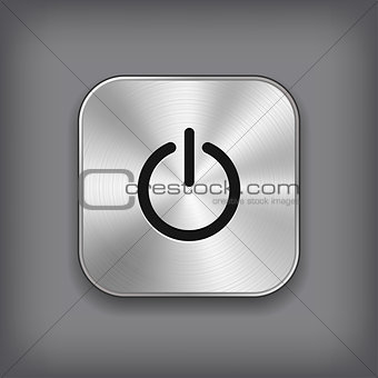 Power icon - vector metal app button