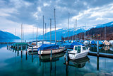 Yachts and boats on Lake Thun in the Bernese Oberland, Switzer