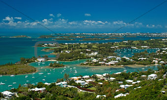 Aerial view of the Bermuda Great Sound