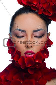 Asian girl in rose petals