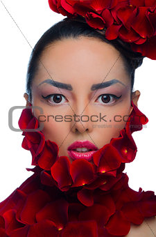 Asian girl with hat of roses