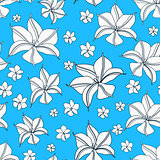 Floral Cyan Blue Seamless Pattern