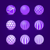 Purple Stripe Round Stripe Ball Icon Set
