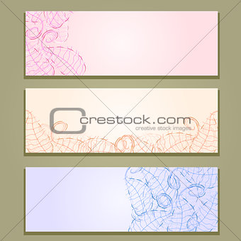 Floral Banner Set with Leaf Silhouettes