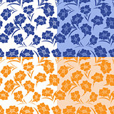 Four seamless herbal patterns