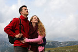 Young couple on holidays in the mountains
