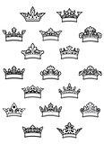 Ornated heraldic crowns set