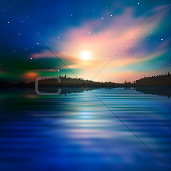 abstract background with forest lake and sunrise