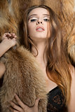 sensual glamour girl with fur