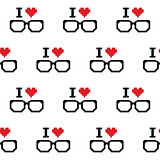 I love geeks, glasses seamless pattern