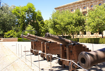 Ancient guns in Alhambra Castle, Spain