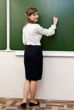 beautiful girl wrote on blackboard