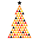 Colorful Xmas Mosaic Tree isolated on white