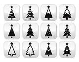 Christmas tree vector buttons set