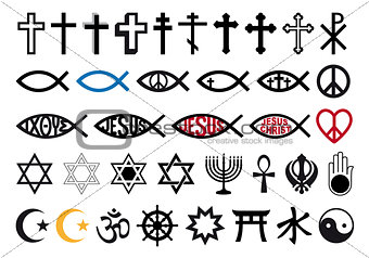 religious symbols, religion signs, vector set
