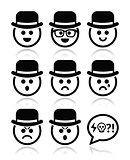 Man in hat faces vector icons set