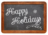 Happy Holidays on blackboard