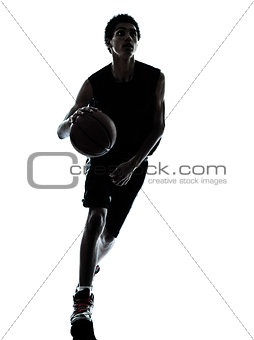 basketball player dribbling silhouette