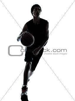basketball player dribbling silhouette