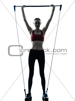 woman exercising gymstick silhouette