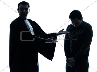lawyer man and his client pleading silhouette