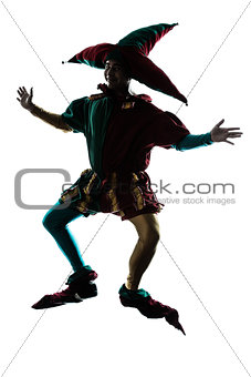 man in jester costume silhouette jumping