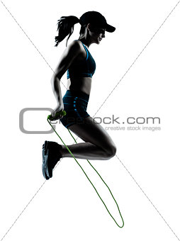 woman runner jogger jumping rope silhouette