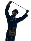 man construction worker holding Tape Measure silhouette